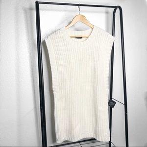 NWT Nasty Gal White Sleeveless Knit Sweater Tunic